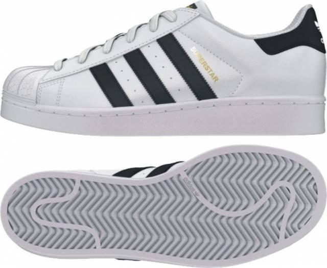 Adidas Superstars White Black Gold GS size 4-7