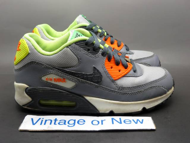 Nike Air Max '90 Grey Anthracite Orange Green Gs 4y