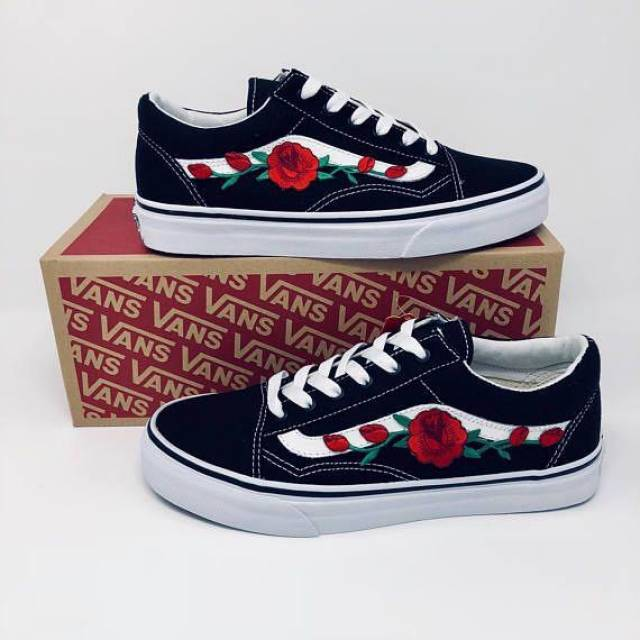 Red Rose Old Skool Vans Black White Shoes Men Women Youth  3d41a22b58