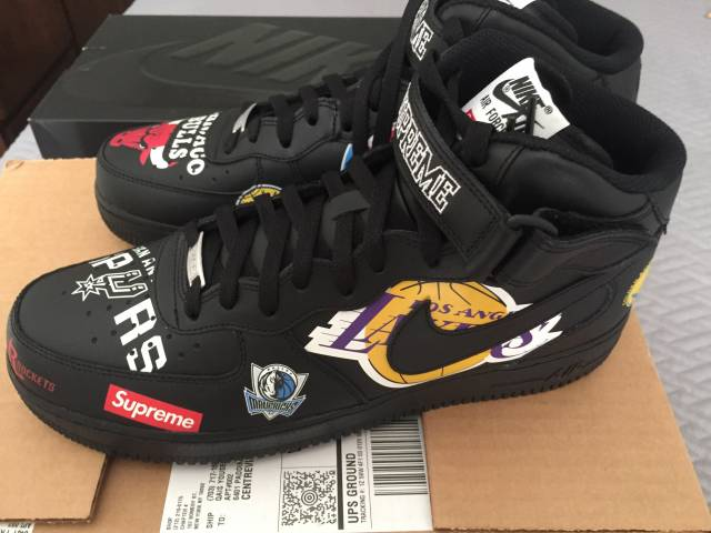 buy online b688d 8b6d4 Supreme x NBA x Nike Air Force 1 Mid Black