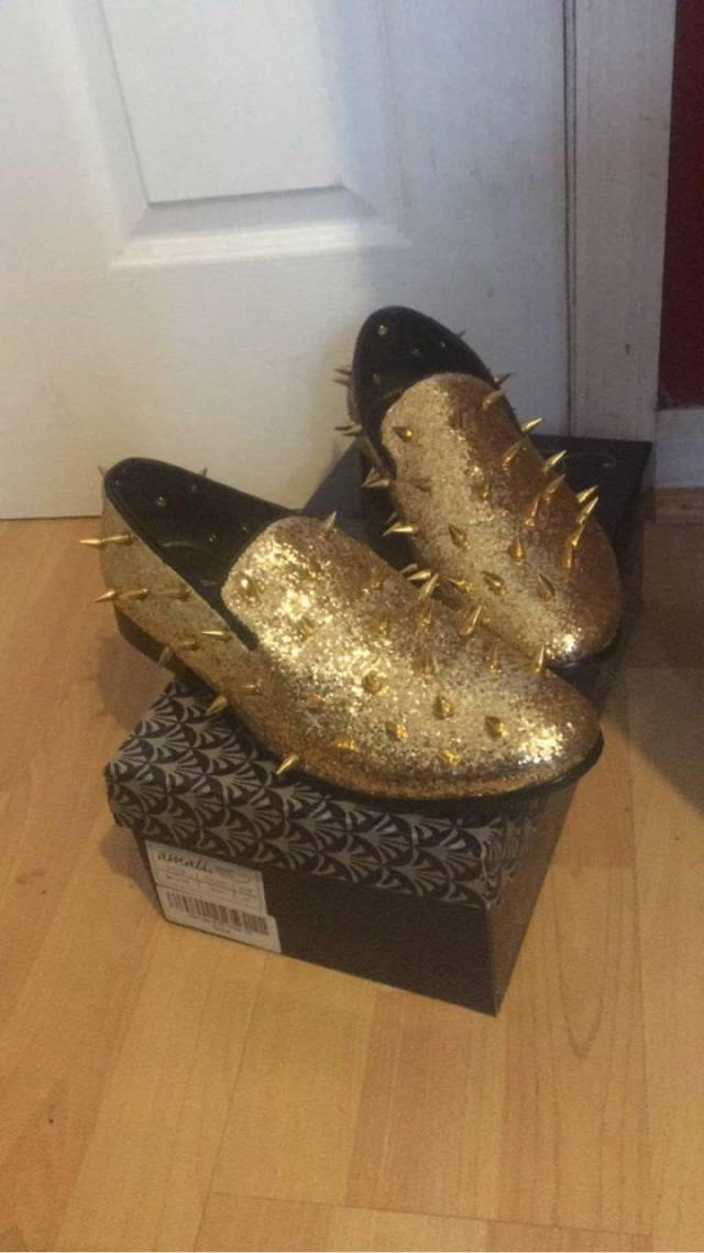4eca672f248 Gold Spiked Loafers