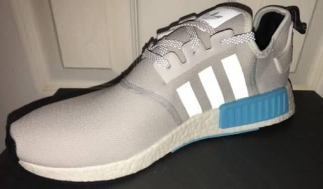 adidas nmd r1 - impulso runner riflettente bianco blu ciano mens