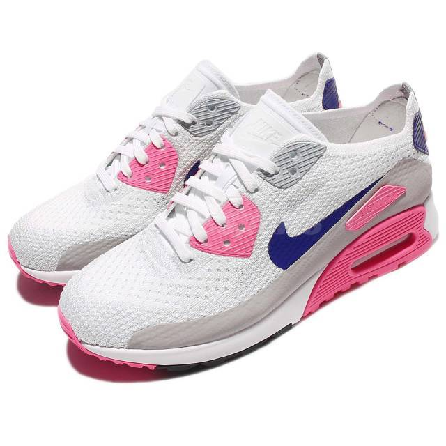 Wmns Nike Air Max 90 Ultra 2.0 Flyknit OG White Laser Pink Women Shoe  881109-101