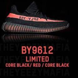 Yeezy 350 v2 core black red si...