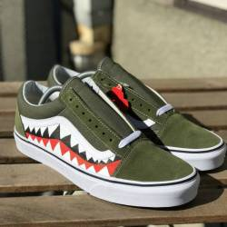 Green sharkteeth vans custom