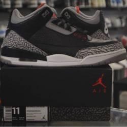 Jordan 3 black cement pre owne...
