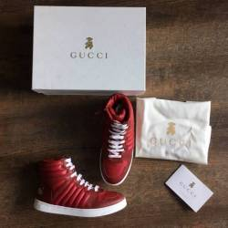 Gucci kids red leather sneakers